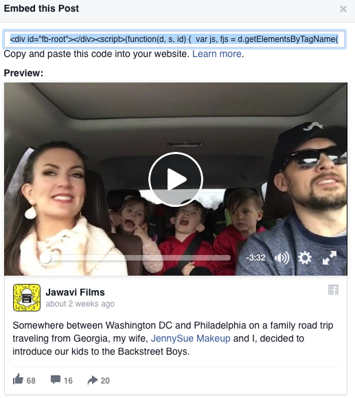 Embed code for FB Video